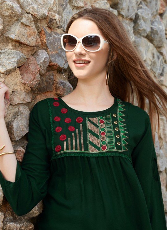 Tempting Green Rayon Casual Wear Top Glazier 2 1025 By Sparrow SC/016516