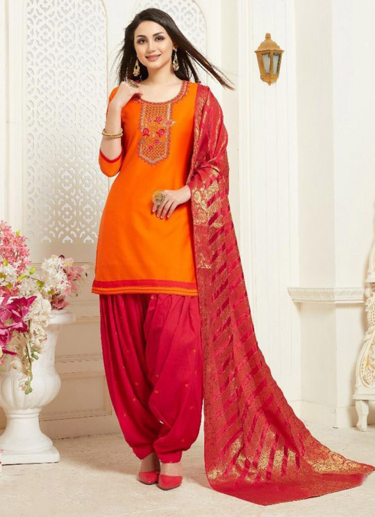 Orange Jam Silk Cotton Party Wear Patiala Suit Banarsi Patiala 1032 Sparrow SC-014322