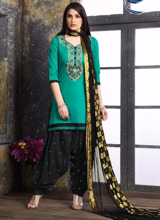 Green Jam Silk Cotton Party Wear Patiala Suit Patiala Vol 2 1020 Sparrow SC-012352