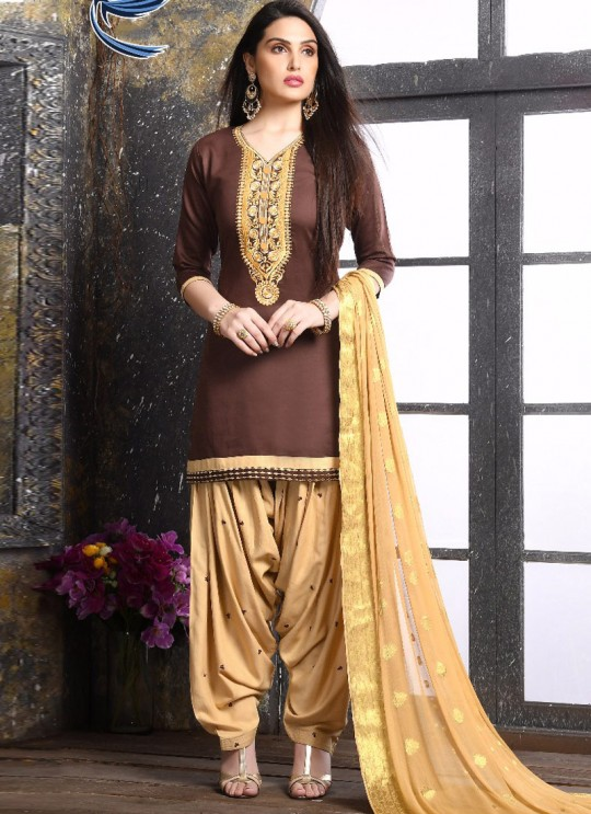 Brown Jam Silk Cotton Party Wear Patiala Suit Patiala Vol 2 1023 Sparrow SC-012363
