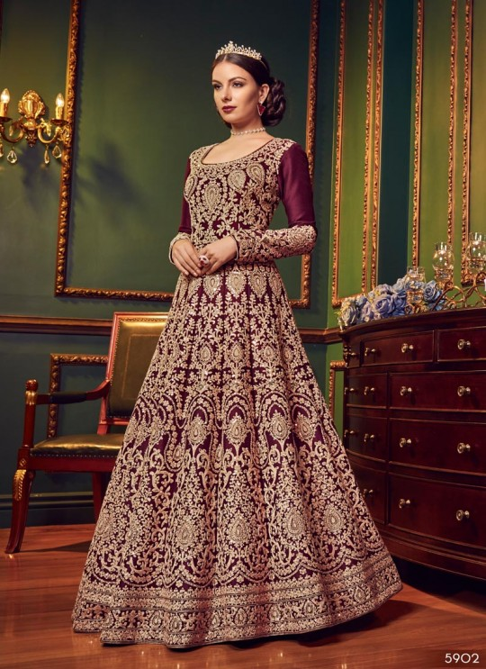 Wine Silk Floor Length Wedding Wear Anarkali Snow White Violet 22 5902 By Swagat SC/013232