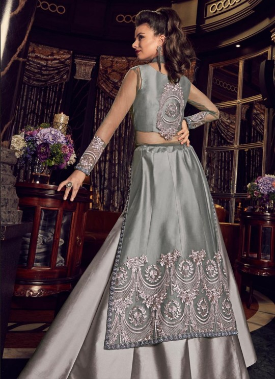 Silver Net Floor Length Wedding Anarkali Snow White Violet 22 5903 By Swagat SC/013233
