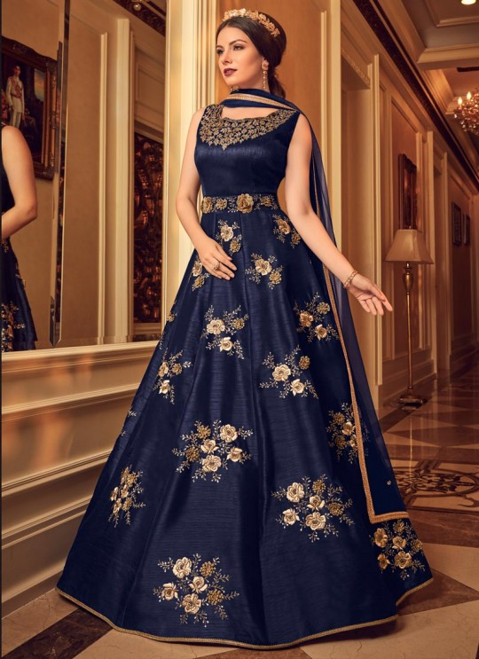 Blue Silk Floor Length Anarkali For Evening Party Snow White Violet 22 5906 By Swagat SC/013236