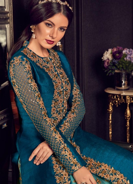 Teal Blue Silk Floor Length Wedding Anarkali Snow White Violet 22 5908 By Swagat SC/013238