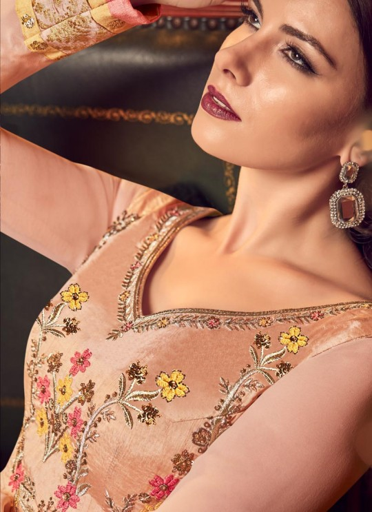 Peach Georgette Floor Length Anarkali For Bridesmaids Snow White Violet 22 5909 By Swagat SC/013239