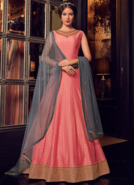 Pink Net Floor Length Anarkali For Pre Wedding Ceremony Snow White Violet 22 5910 By Swagat SC/013240