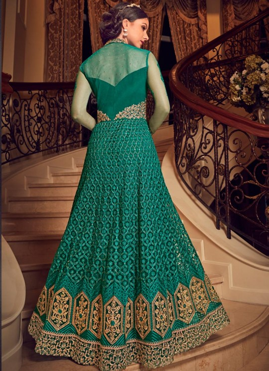 Teal Green Net Floor Length Anarkali For Indian Weddings Snow White Violet 22 5912 By Swagat SC/013242