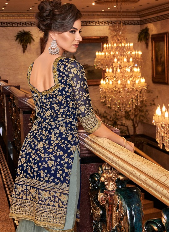Blue Net Wedding Wear Sharara Suit Violet Vol 30-6311 By Swagat SC/016859