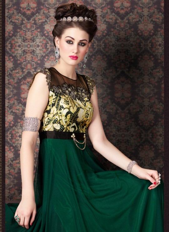 Green Net Gown Style Party Wear Anarkali 4701 Series 4703 By Swagat SC/004077