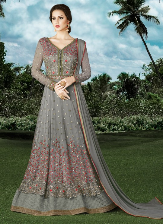 Grey Net Floor Length Anarkali For Mehandi Ceremony Snow White Series 4903A Color By Swagat SC/003924