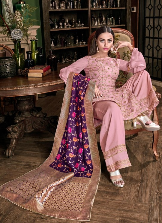 Mauve Tussar Satin Wedding Palazzo Suit Violet Vol 28 6208 By Swagat SC/016649