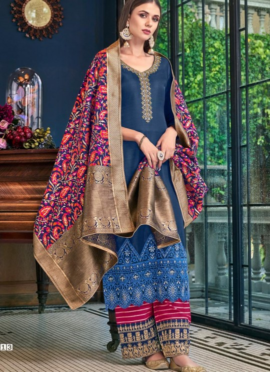 Blue Tussar Satin Wedding Palazzo Suit Violet Vol 28 6213 By Swagat SC/016654