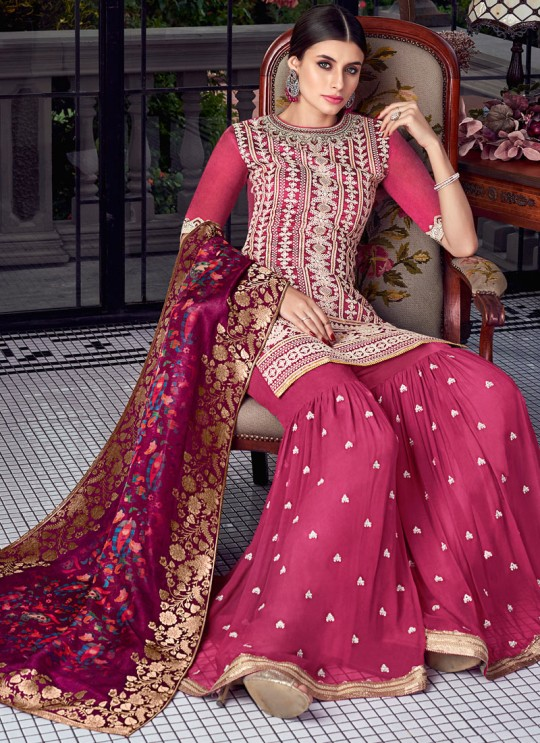 Pink Silk Party Wear Sharara Suit Sezane 8001 By Swagat