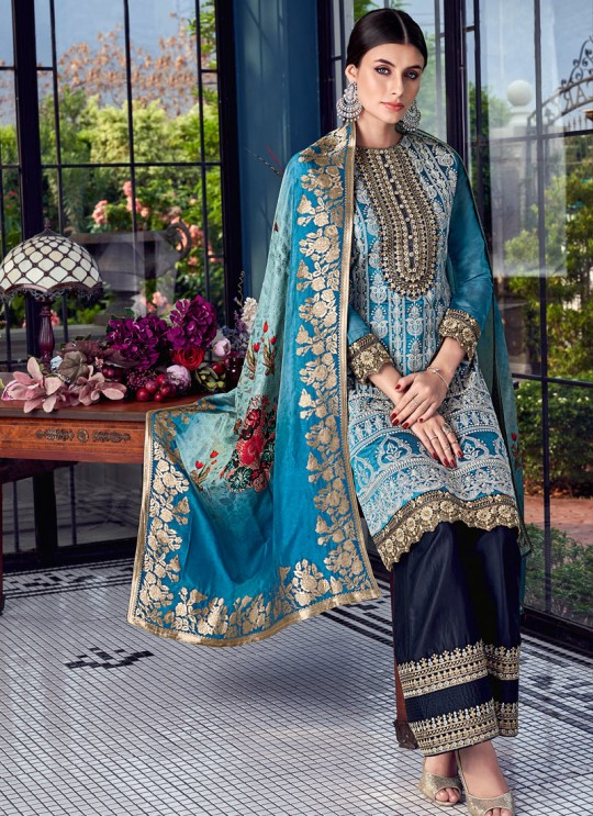 Sky Blue Silk Party Wear Sharara Suit Sezane 8003 By Swagat