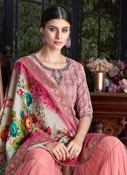 Pink Silk Party Wear Sharara Suit Sezane 8004 By Swagat