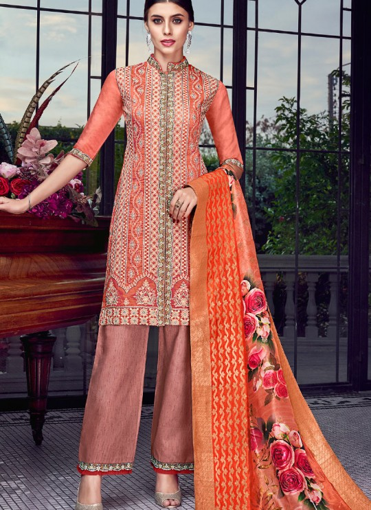 Peach Silk Party Wear Sharara Suit Sezane 8008 By Swagat