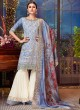 Sky BLue Silk Party Wear Sharara Suit Sezane 8009 By Swagat