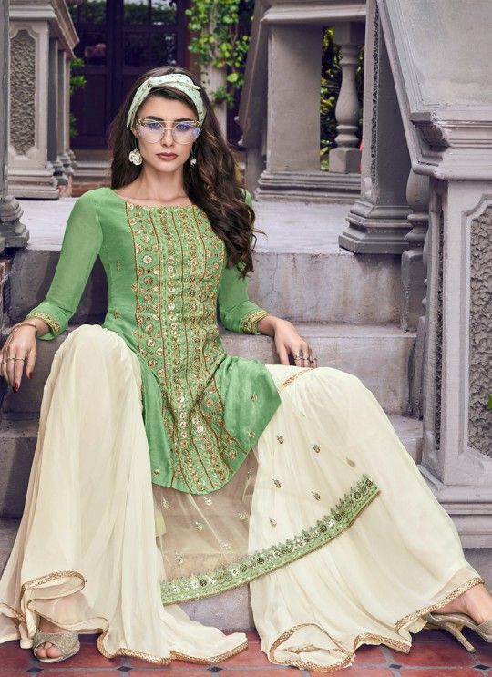 Violet Vol 31 By Swagat 6402 Green Tussar Satin Party Wear Sharara Suit