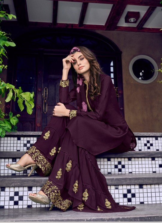Violet Vol 31 By Swagat 6408 Purple Silk Party Wear Sharara Suit