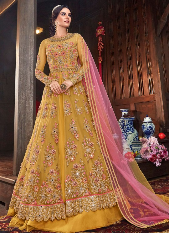 Wedding & Party Wear Floor Length Anarkali In Yellow Color Violet Vol 26 - 6103 By Swagat SC/016379