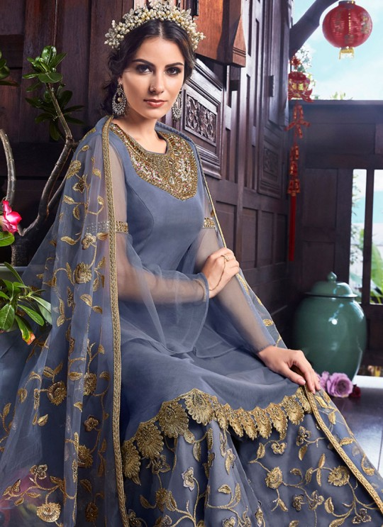 Wedding & Party Wear Floor Length Anarkali In Grey Color Violet Vol 26 - 6104 By Swagat SC/016380