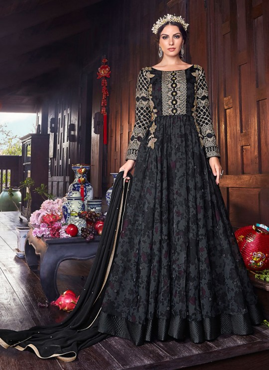 Wedding & Party Wear Floor Length Anarkali In Black Color Violet Vol 26 - 6106 By Swagat SC/016382
