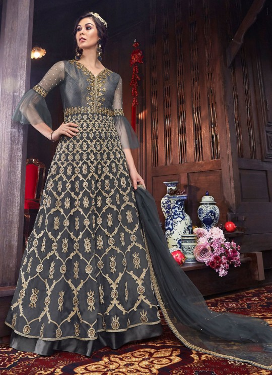 Wedding & Party Wear Floor Length Anarkali In Grey Color Violet Vol 26 - 6108 By Swagat SC/016384