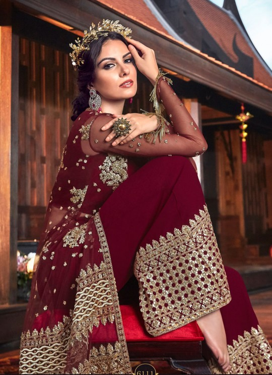 Wedding & Party Wear Floor Length Anarkali In Maroon Color Violet Vol 26 - 6111 By Swagat SC/016387