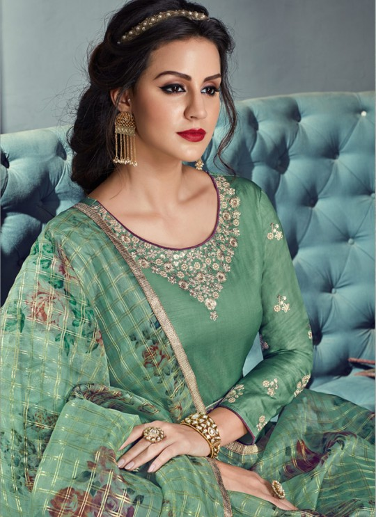 Green Tussar Silk Gown Style Anarkali For Wedding Reception Royal Highness 701 By Sybella Creations SC/014030