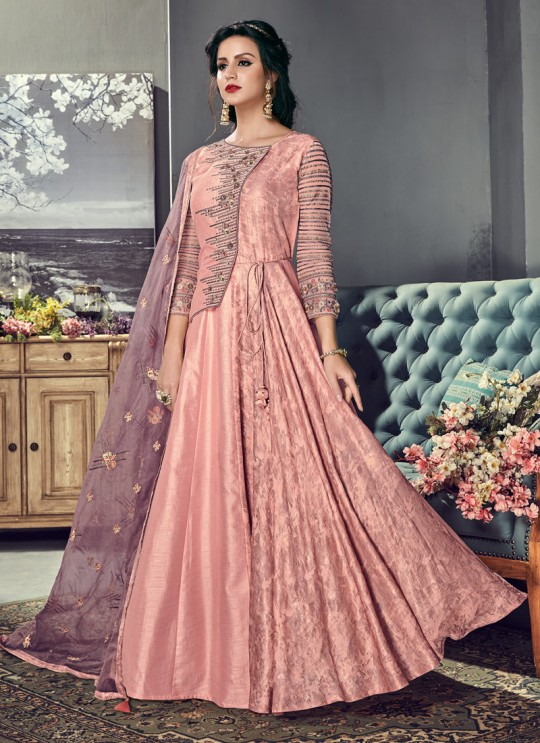 Pink Art Silk Gown Style Anarkali For Wedding Reception Royal Highness 703 By Sybella Creations SC/014032