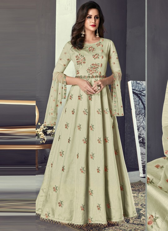 Cream Art Silk Gown Style Anarkali For Wedding Reception Royal Highness 704 Set By Sybella Creations SC/014029