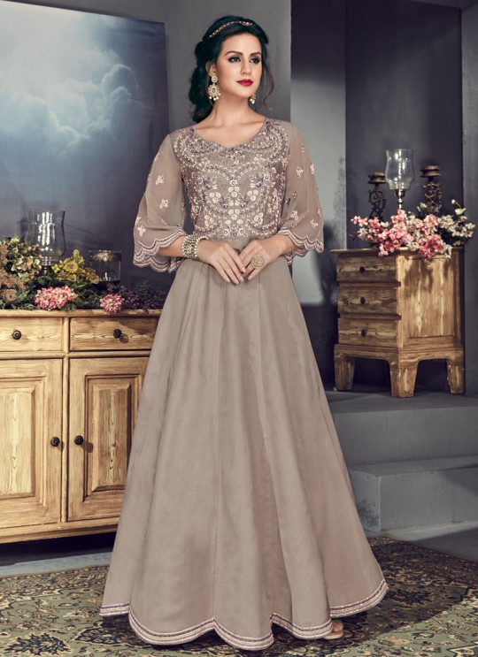 Grey Tussar Silk Gown Style Anarkali For Wedding Reception Royal Highness 706 Set By Sybella Creations SC/014029