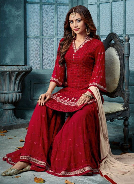 Maroon Georgette Palazzo Suit For Wedding Ceremony Royal Bliss 801 By Sybella Creations SC/014245