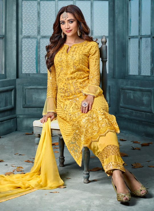 Yellow Georgette Straight Cut Suit For Wedding Ceremony Royal Bliss 802 Set By Sybella Creations SC/014253