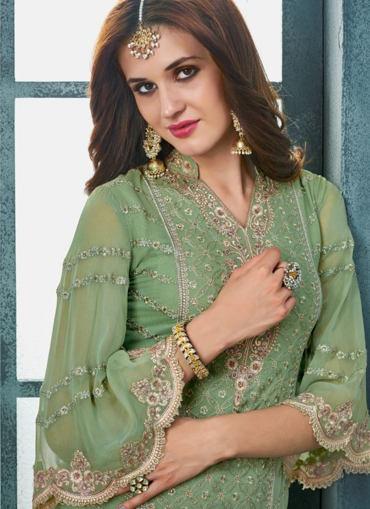 Green Georgette Palazzo Suit For Wedding Ceremony Royal Bliss 803 Set By Sybella Creations SC/014253