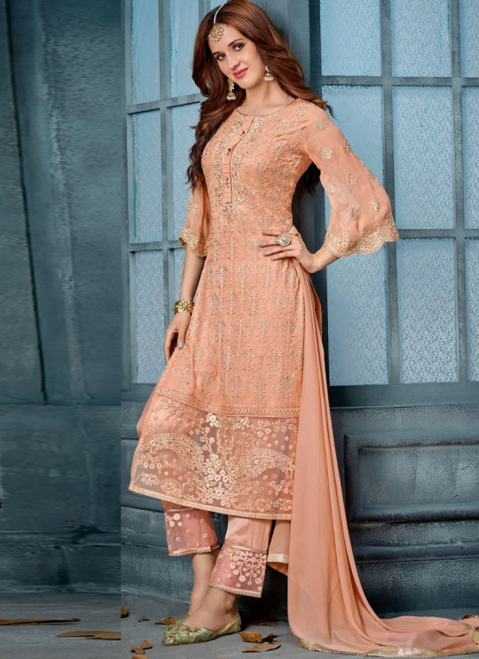 Peach Georgette Straight Cut Suit For Wedding Ceremony Royal Bliss 804 Set By Sybella Creations SC/014253