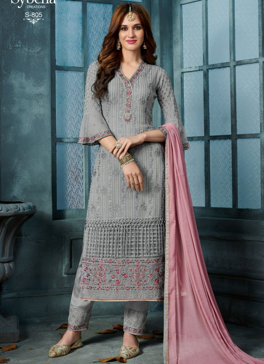 Grey Georgette Straight Cut Suit For Wedding Ceremony Royal Bliss 805 Set By Sybella Creations SC/014253