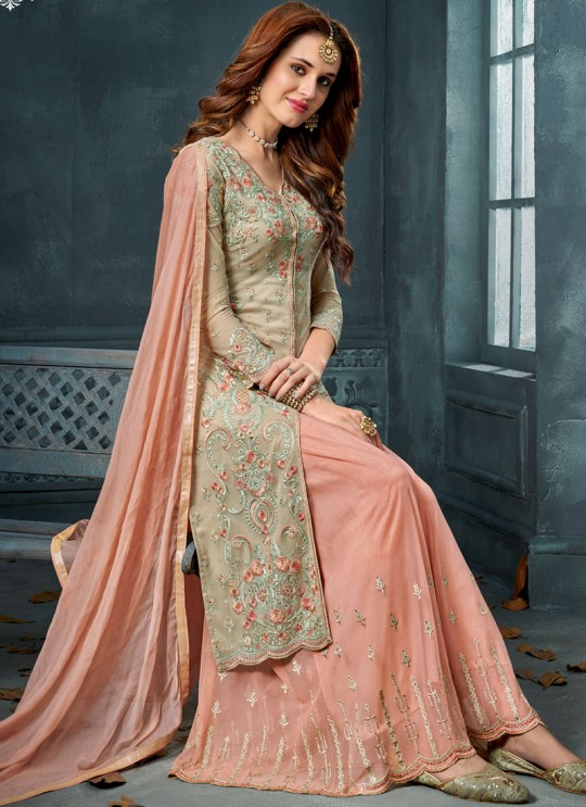 Green Net Palazzo Suit For Wedding Ceremony Royal Bliss 806 Set By Sybella Creations SC/014253