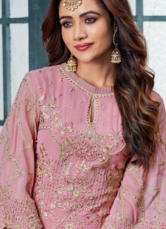 Pink Georgette Straight Cut Suit For Wedding Ceremony Royal Bliss 807 By Sybella Creations SC/014251