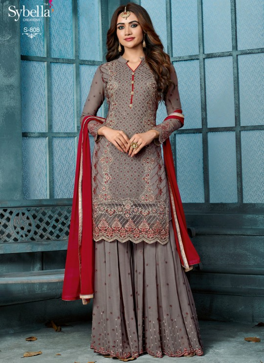 Grey Georgette Palazzo Suit For Wedding Ceremony Royal Bliss 808 Set By Sybella Creations SC/014253