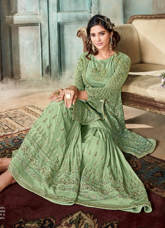 Green Net Sharara Suit For Wedding Reception La Royal 605 By Sybella Creations SC/012979