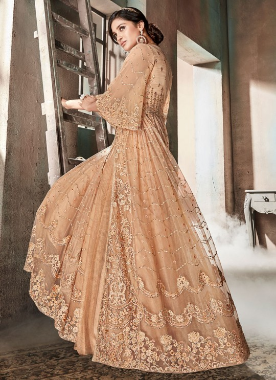 Peach Net Skirt Kameez For Wedding Reception La Royal 606 By Sybella Creations SC/012980