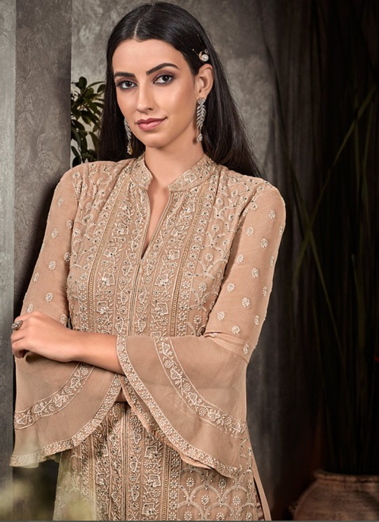 Beige Party Wear Straight Cut Suit Rahnuma 1101 By Sybella Creations SC/016444