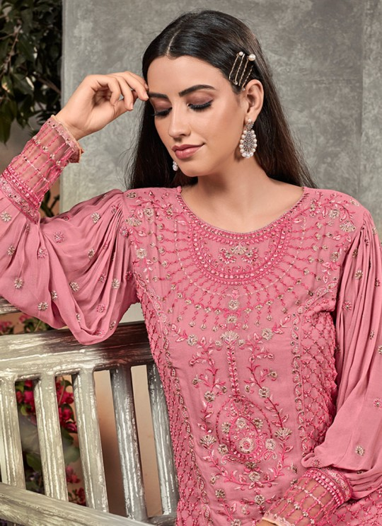 Pink Party Wear Palazzo Suit Rahnuma 1102 By Sybella Creations SC/016445