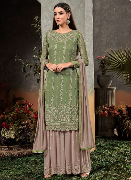 Green Georgette  Palazzo Suit Rahnuma 1103 Set By Sybella Creations SC/016452