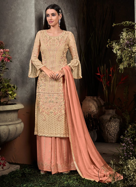 Beige Party Wear Palazzo Suit Rahnuma 1104 By Sybella Creations SC/016447