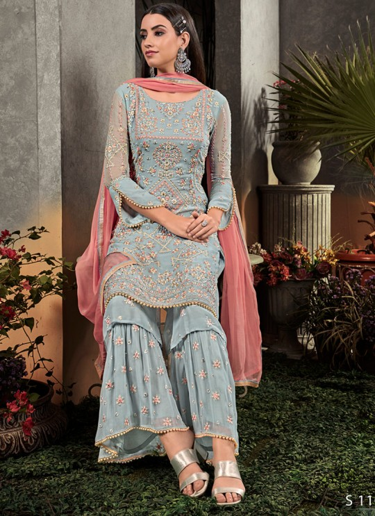 Blue Georgette  Palazzo Suit Rahnuma 1105 Set By Sybella Creations SC/016452