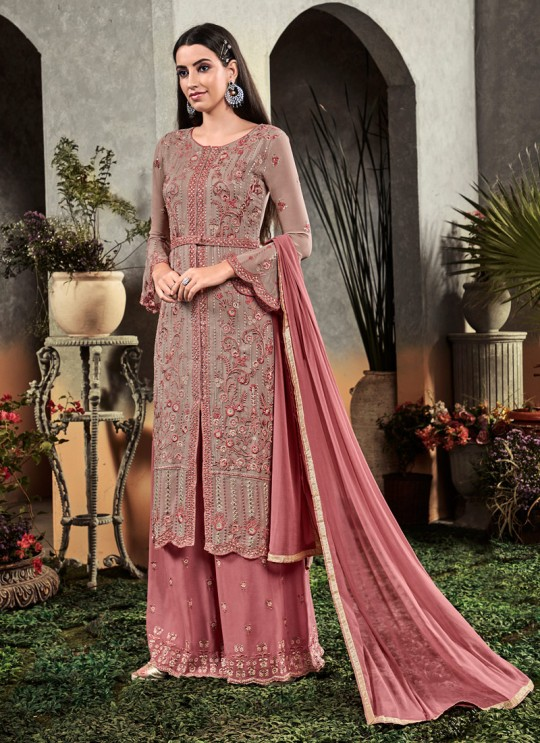 Grey Party Wear Palazzo Suit Rahnuma 1107 By Sybella Creations SC/016450