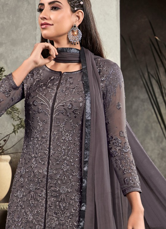 Grey Party Wear Straight Cut Suit Rahnuma 1108 By Sybella Creations SC/016451