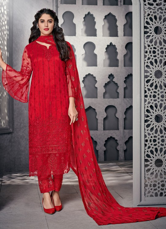 Captivating Net Designer Straight Cut Suit For Ceremony In Red Color